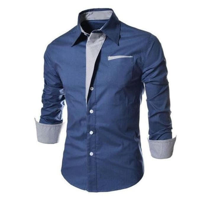 jual [blue style OT] kemeja pria katun stretch lengan panjang biru