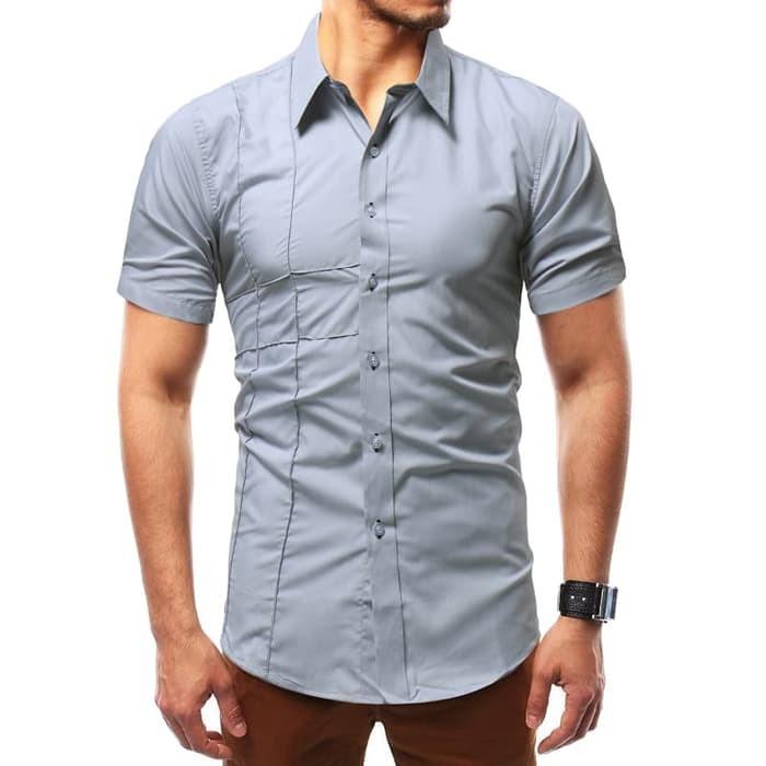 jual [danles grey OT] kemeja pria katun stretch lengan pendek abu
