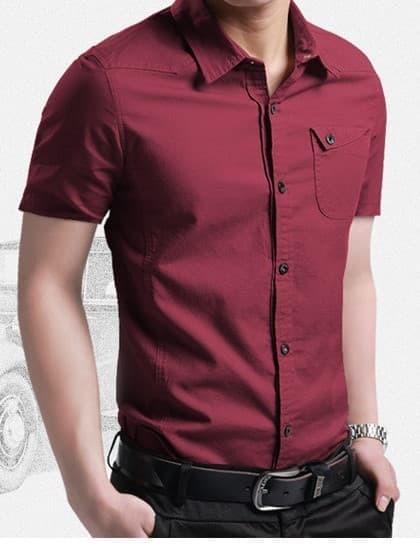 jual [coller maroon OT] kemeja pria katun stretch lengan pendek maroon