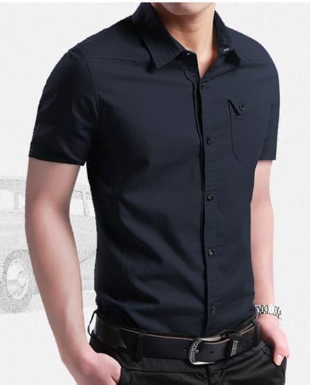 jual [coller black OT] kemeja pria katun stretch lengan pendek hitam