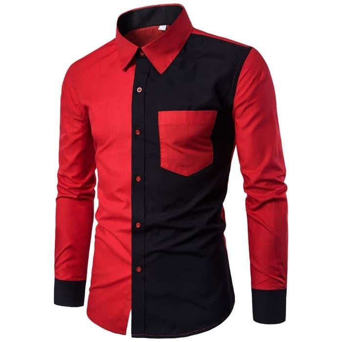jual [hem combo black OT] kemeja pria katun stretch hitam kombi merah