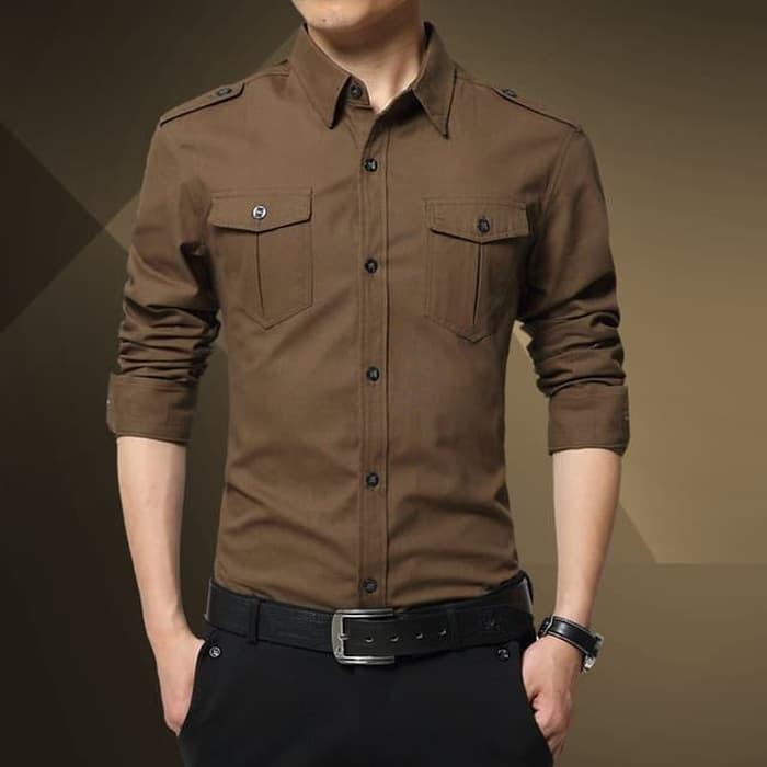 jual [diego choco OT] kemeja pria katun stretch lengan panjang coklat