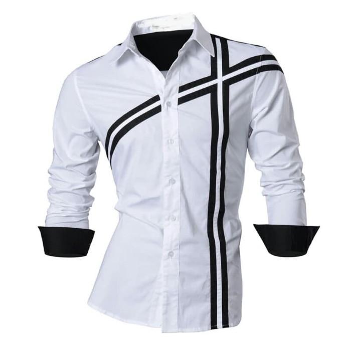 jual [DOMINO WHITE SC] kemeja pria katun stretch putih