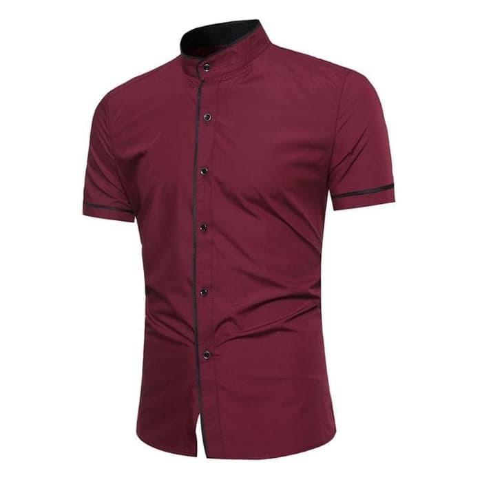 jual [trendy maroon OT] kemeja pria katun stretch lengan pendek maroon