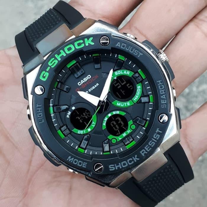jual Jam tangan Casio pria murah G Shock GST210B black lisd green