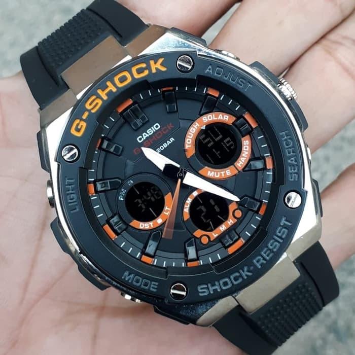 jual Jam tangan Casio pria murah G Shock GST210B black lisd orange