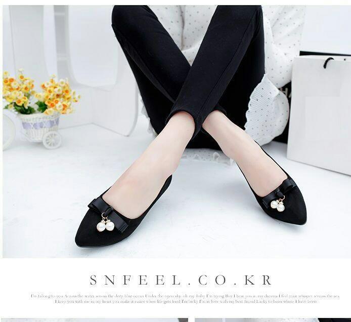 jual Sepatu Flat Shoes Wanita Pita Mutiara SDB97 Hitam