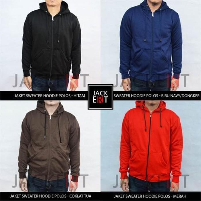 jual Jaket Sweater Polos (Zipper) - Merah Marun
