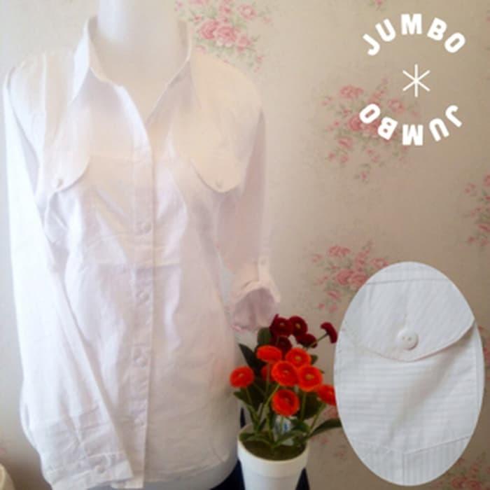 jual Kemeja blus putih wanita kantor kantong/saku 2 full motif salur JUMBO