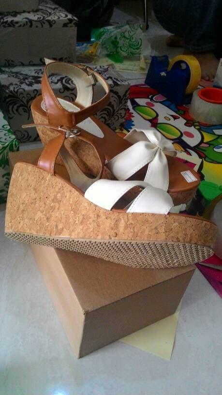 jual Sandal Wedges Wanita | Sepatu Wedges Cewek SDW54 - COKELAT, 37