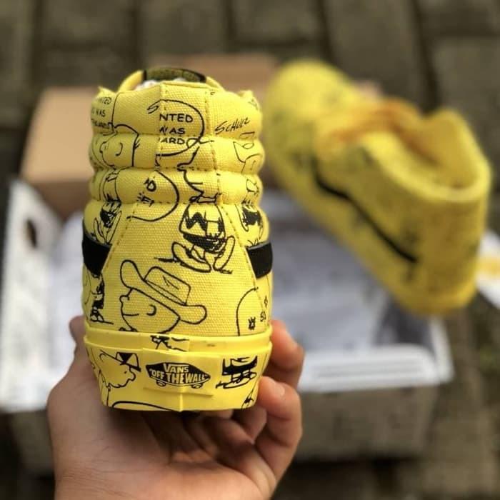 jual Sepatu Vans Sk8 Hi Peanuts x Charlie Brown Yellow Premium Mirror Legit