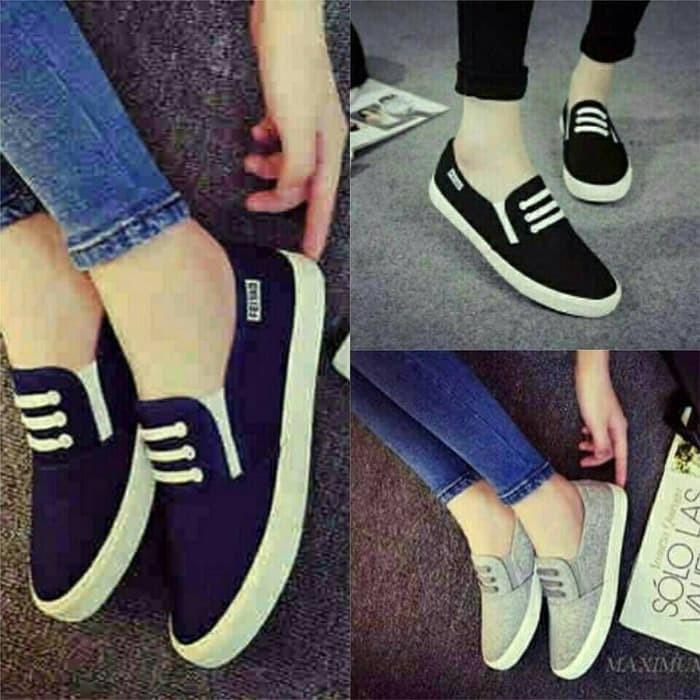 jual Sepatu Sandal Wanita Flat Kanvas   Sepatu Cewek SDS89 - Hitam, 37