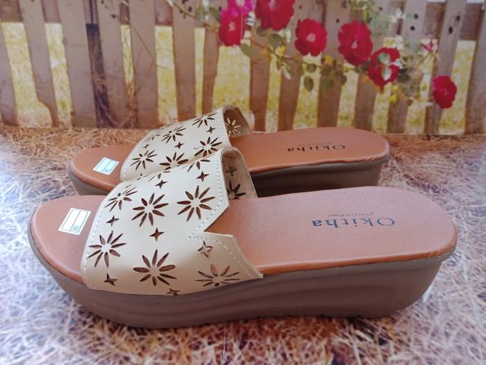 jual Sandal Wedges Wanita Laser SDW280 Cream
