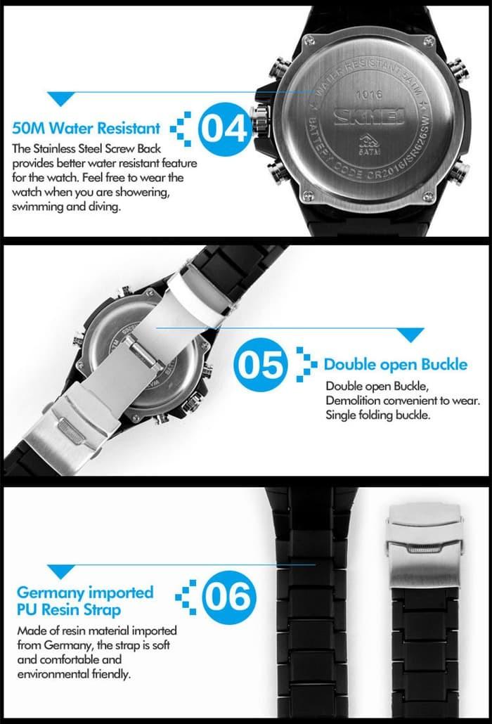 jual SKMEI Sport Watch 1016 Original Water Resistant 50M - Gold - Hitam