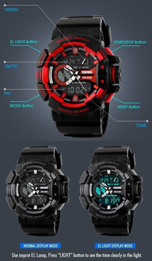 jual SKMEI Sport Watch 1117 Original Water Resistant 50M - Blue