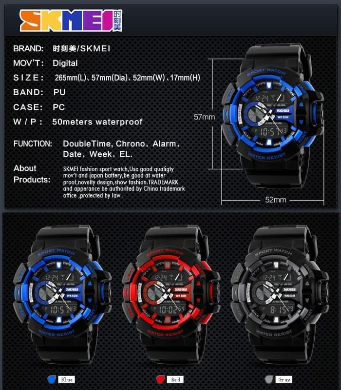 jual Jam Tangan Pria Dual Time SKMEI Casio Men Sport Original AD1117