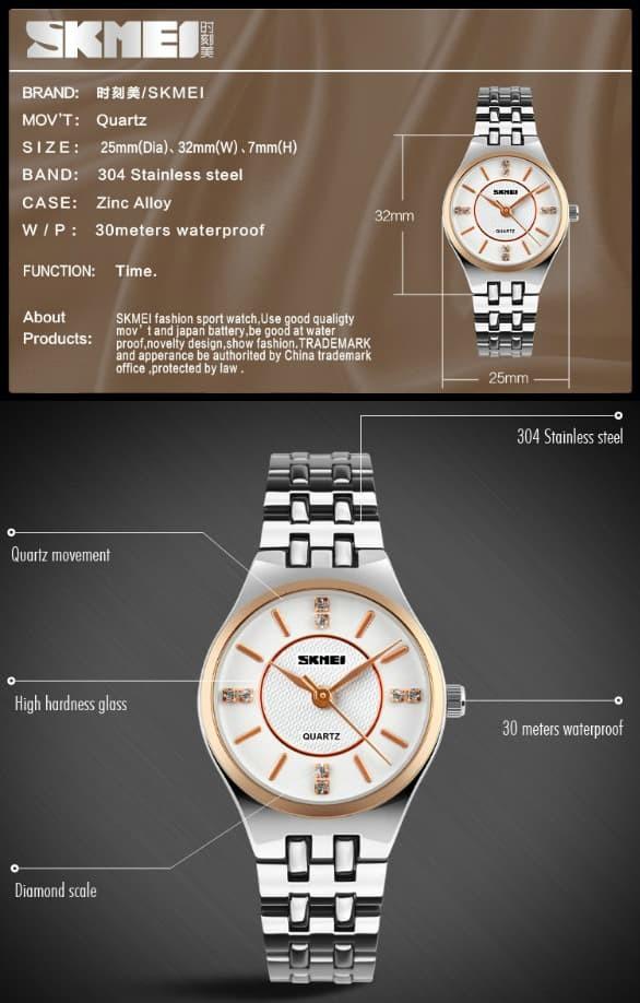 jual SKMEI Woman Fashion Watch 1133 Original Water Resistant 30M -Rose Gold