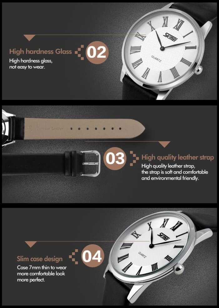 jual SKMEI Fashion Watch 9092 Original Water Resistant 30M - White Brown