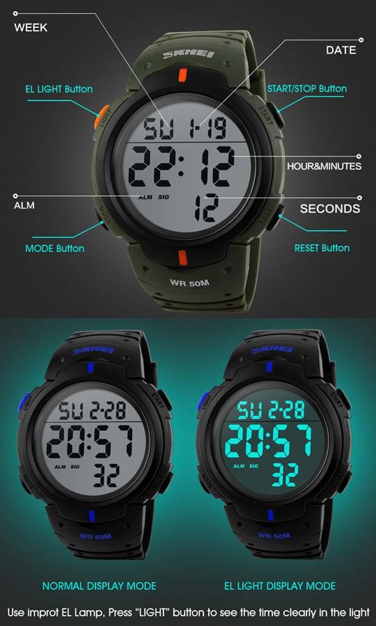 jual SKMEI Pioneer Sport Watch 1068 Original Water Resistant 50M - Black