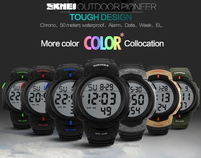 jual SKMEI Pioneer Sport Watch 1068 Original Water Resistant 50M - Gold
