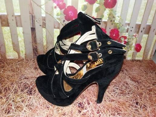 jual Sandal High Heels Wanita Hitam Tali SDH25