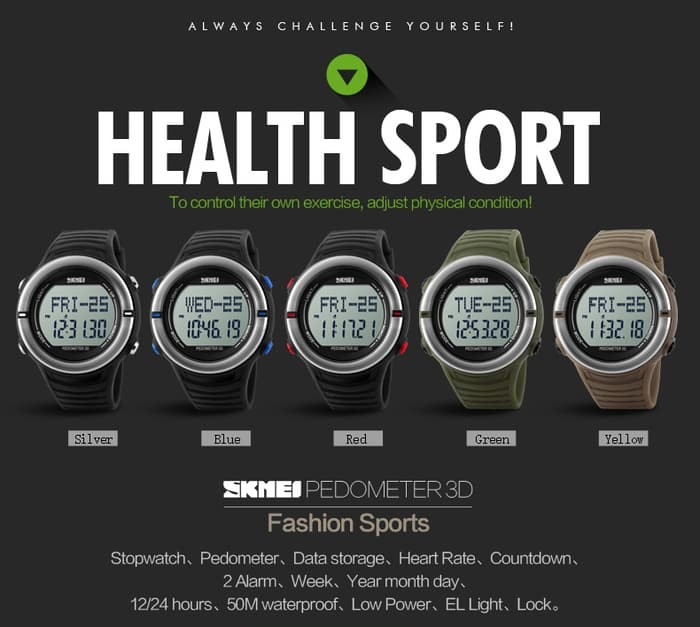 jual SKMEI Heartrate & Pedometer Watch 1111 Original WR 50M - Black Silver