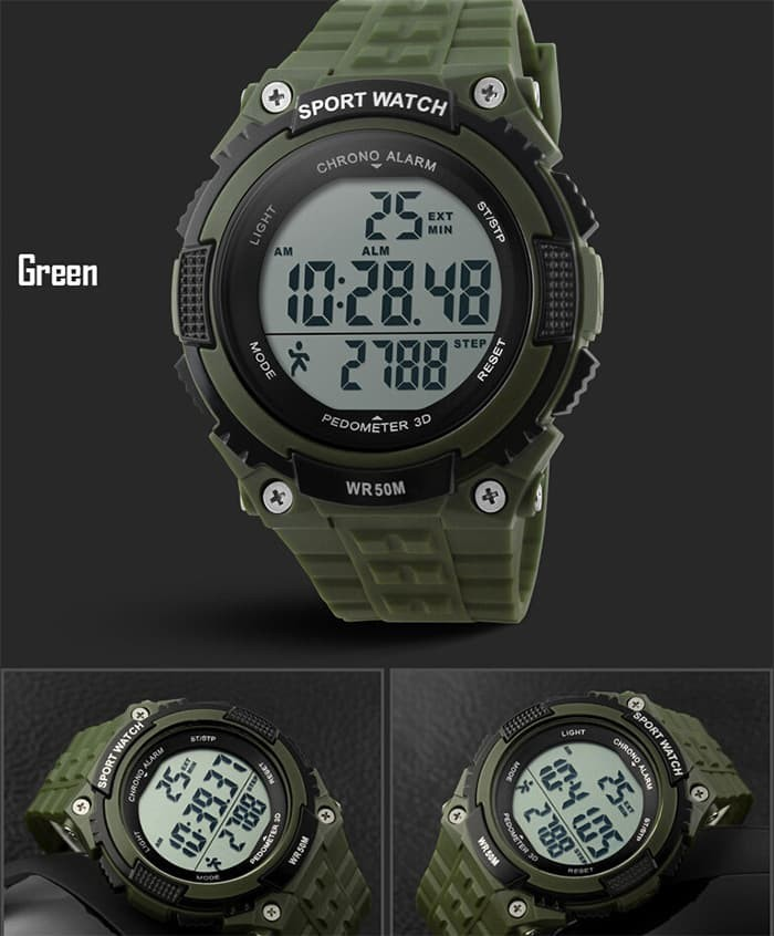 jual SKMEI Pedometer Sport Watch 1112 Original WR 50M - Army Green