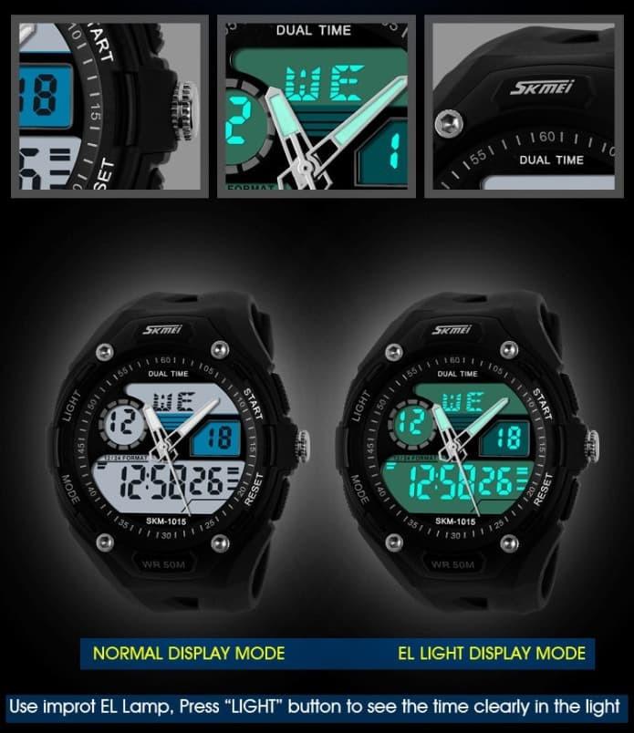 jual SKMEI Sport Watch 1015 Original Water Resistant 50M - Black