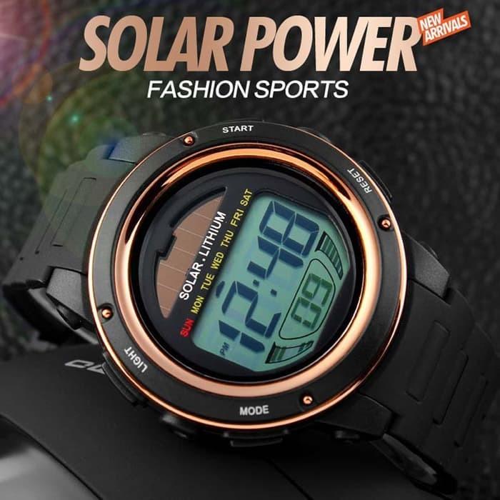 jual SKMEI Solar Power Watch 1096 Original Water Resistant 50M - Black Gold