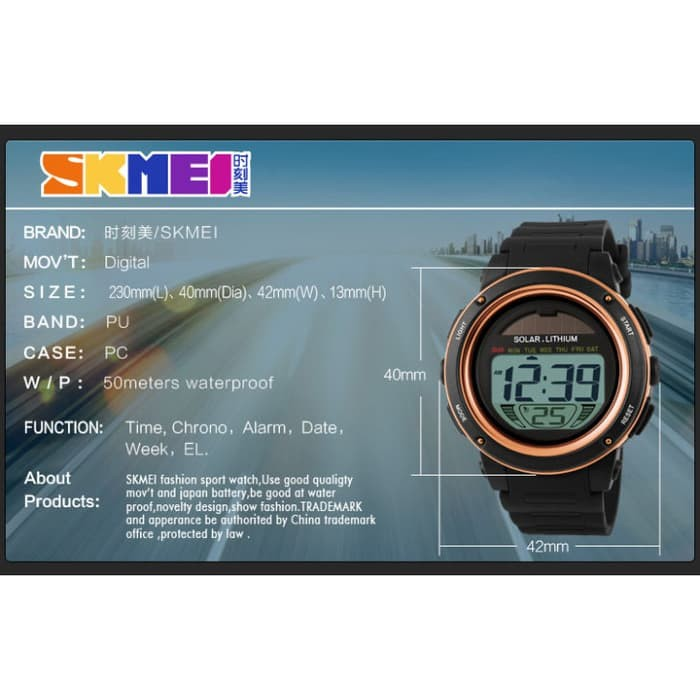 jual SKMEI Solar Power Watch 1096 Original Water Resistant 50M - Black Blue