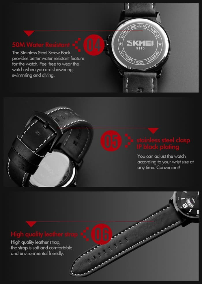 jual SKMEI Watch 9115 Original Water Resistant 50M - Brown