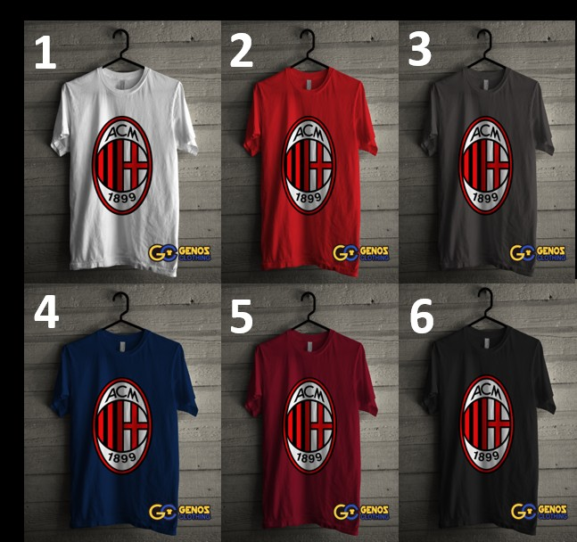 jual Tshirt Kaos Distro AC Milan 1 (Lengan Pendek) - Baju Bola Pria Wanita