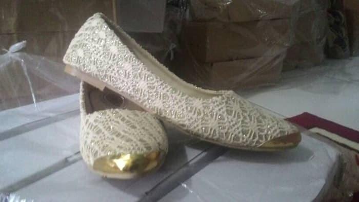 jual Sepatu Wanita Flat Shoes Brukat SDB46