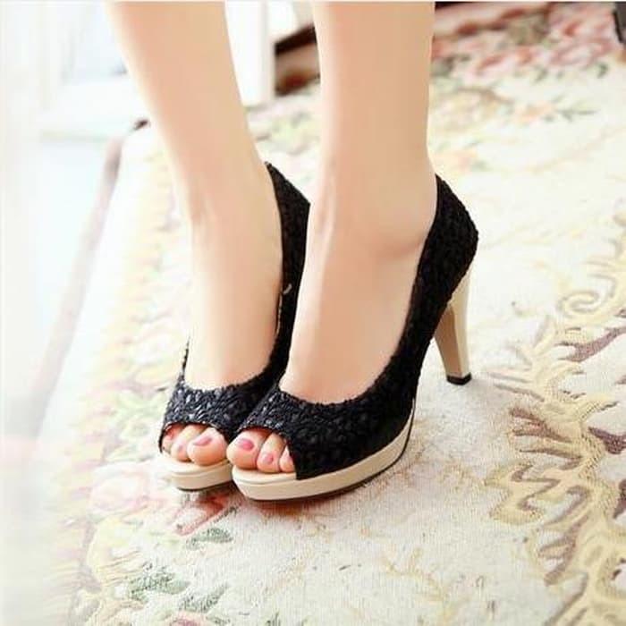 jual Sepatu Sandal High Heels Wanita Pantofel Brukat SDH28