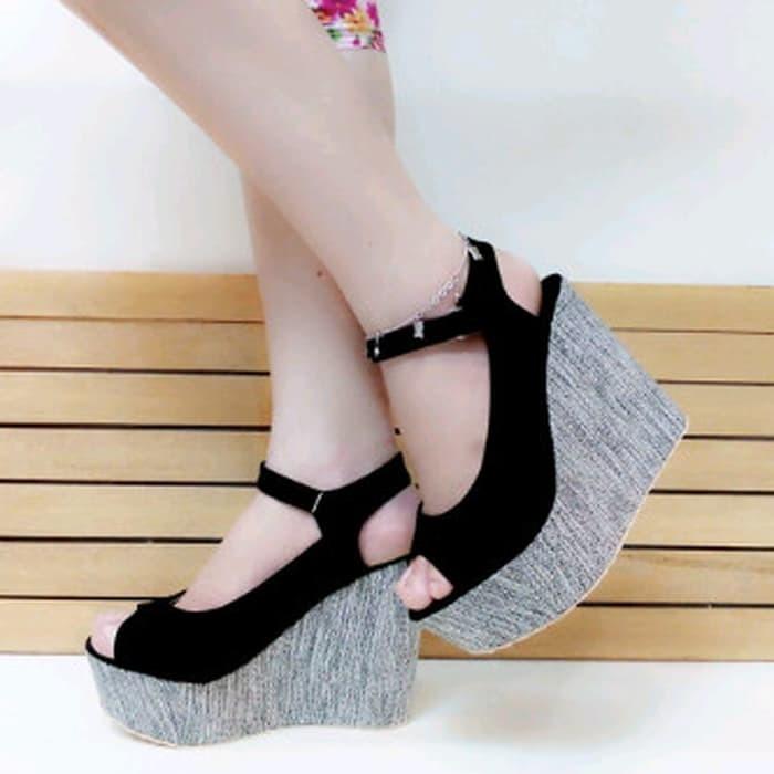 jual Sandal Wedges Wanita Tinggi 12cm SDW70
