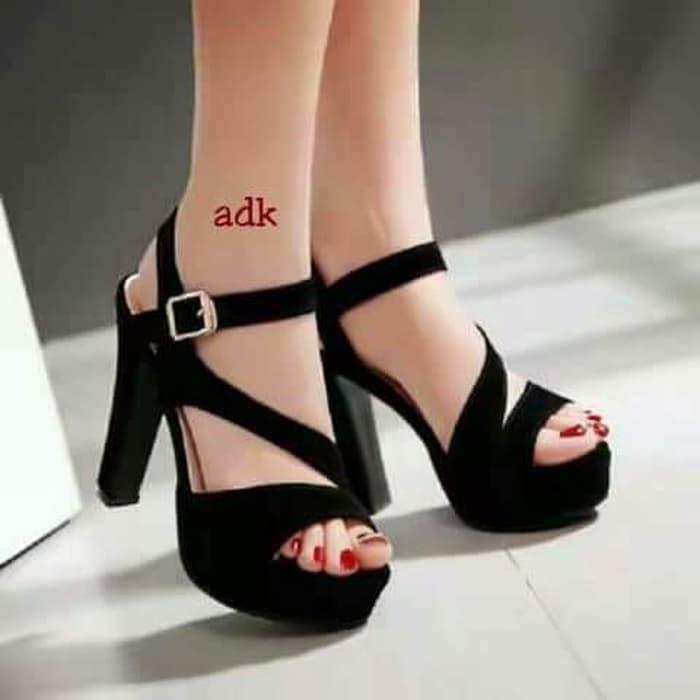 jual Sandal High Heels Wanita SDH155 - Hitam, 37