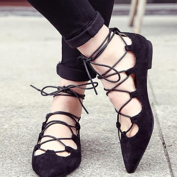 jual Sepatu Wanita Flat Shoes Tali Ballerina SDB51 - Hitam, 37