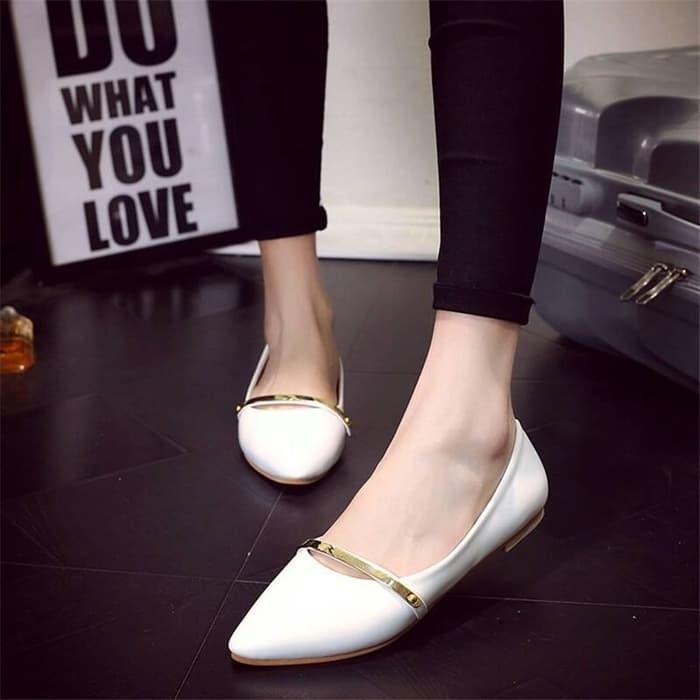 jual Sepatu Wanita Flat Shoes List Gold SDB58 - Putih, 37