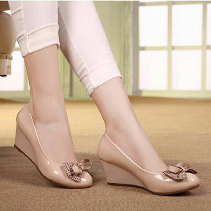 jual Sandal Wedges Pantofel Wanita Motif Polkadot SDH29 - Hitam, 37