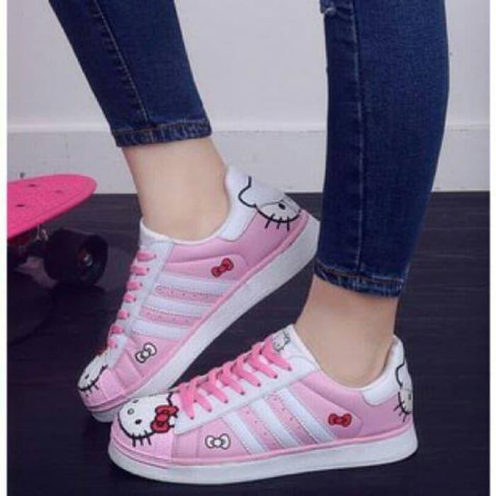 jual Sepatu Wanita Kets Casual Hello Kitty SDS176 - Merah Muda, 36
