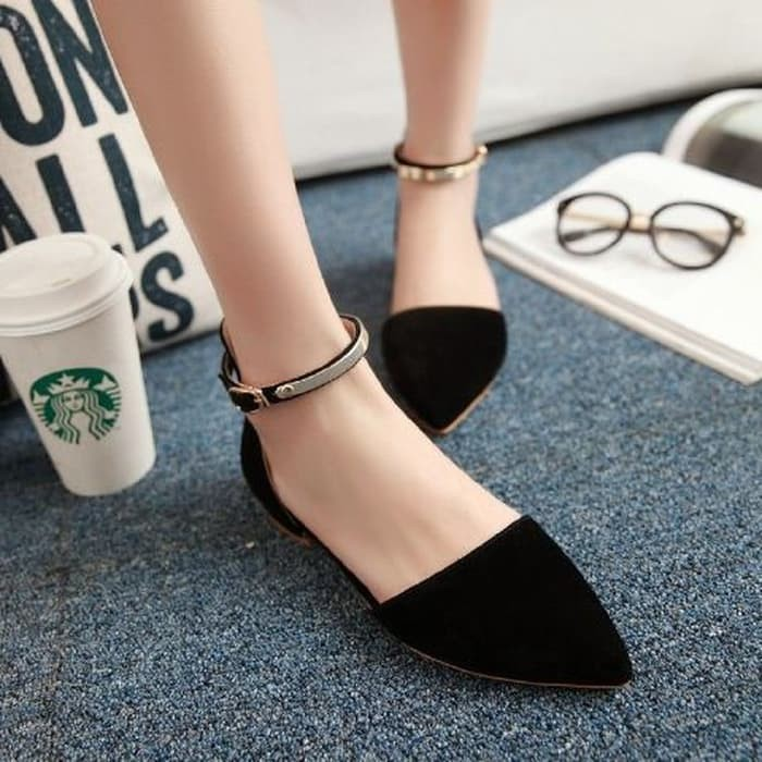 jual Sepatu Wanita Flat Shoes Tali Gold SDB54