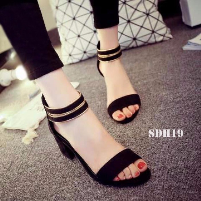 jual Sandal High Heels Wanita/Sepatu Sendal Wanita SDH19 - Hitam, 37