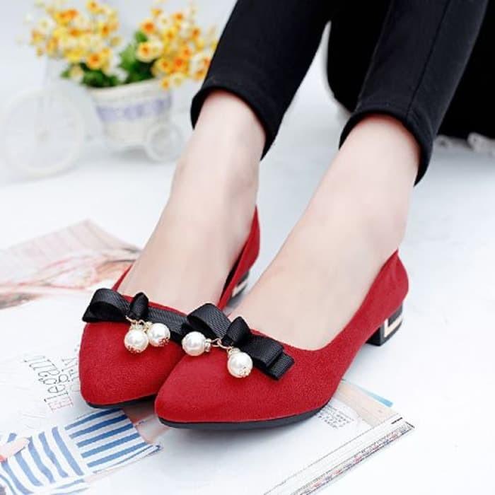 jual Sepatu Flat Shoes Wanita Pita Mutiara SDB97 Merah