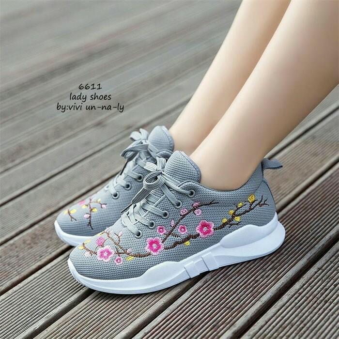 jual Sepatu Wanita Kets Casual Bordir Bunga SDS232 Abu