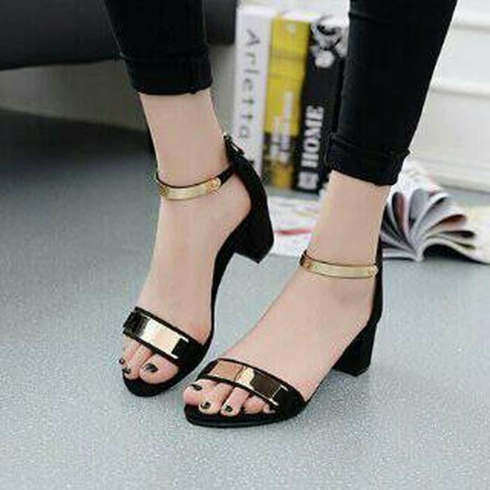 jual Sandal High Heels Wanita Hak Tahu Tali Gold SDH153 - Hitam, 37