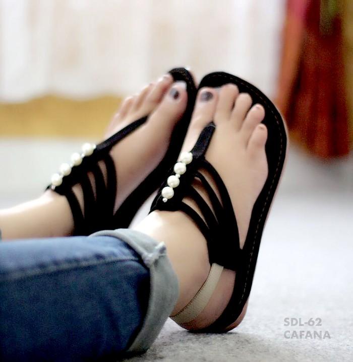 jual Sandal Wanita Flat Jepit Tali Mutiara SDL62