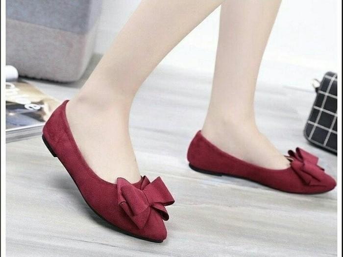 jual Sepatu Flat Shoes Wanita Pita SDB89 - Maroon, 37