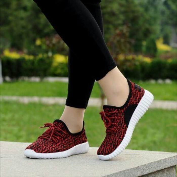 jual Sepatu Wanita Kets Sneakers Casual Merah SDS185