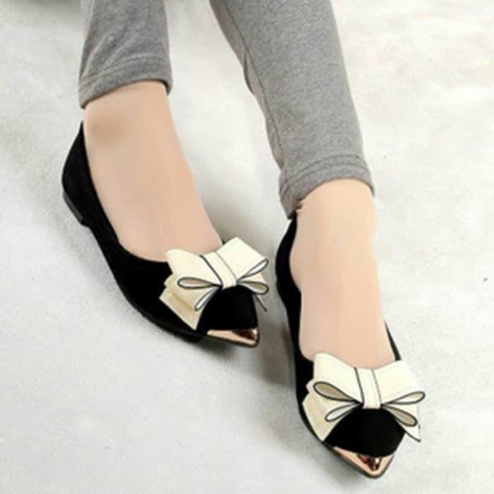 jual Sepatu Wanita Flat Shoes Pita  SDB44 - Hitam, 37
