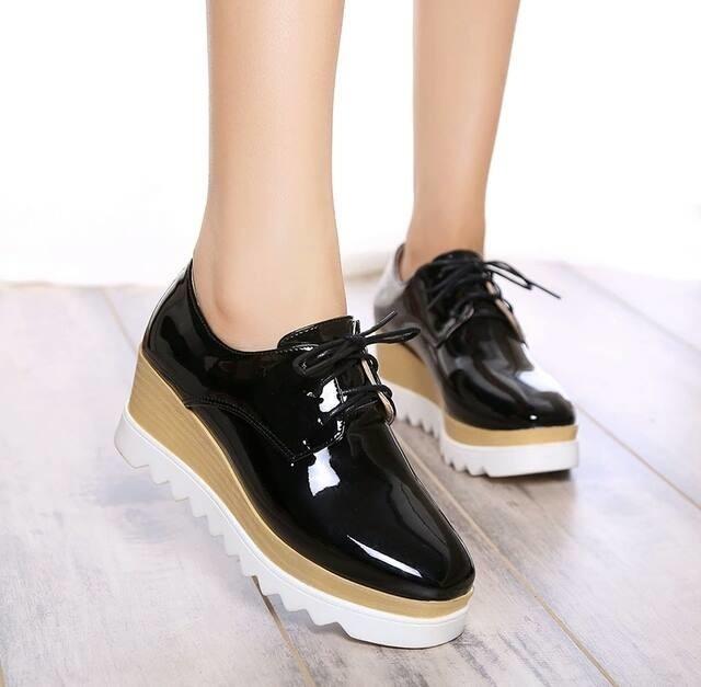 jual Sepatu Boots Wedges Wanita Glossy SBO320